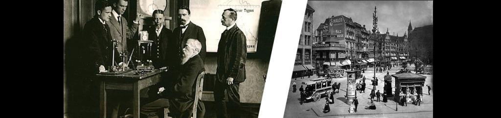 Wundt en su laboratorio con alumnos en la Alemania de finales del siglo XIX